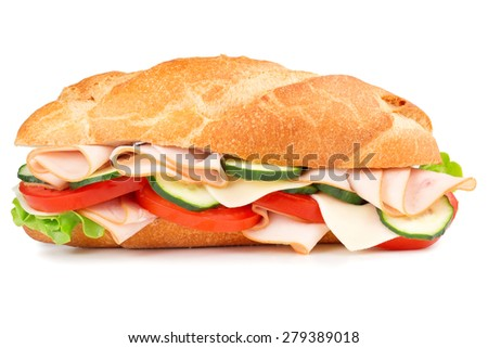 delicious ham sandwich isolated on white background - stock photo