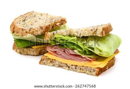 delicious ham sandwich on white background - stock photo