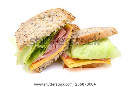delicious ham sandwich with cheese, salad isolated on white