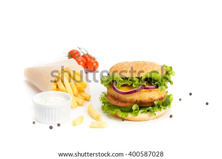 Delicious hamburger and french fries isolated on white background - stock photo