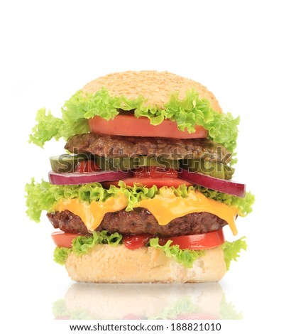 Delicious hamburger. Isolated on a white background.