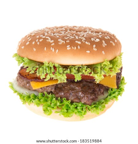 Delicious hamburger on white background