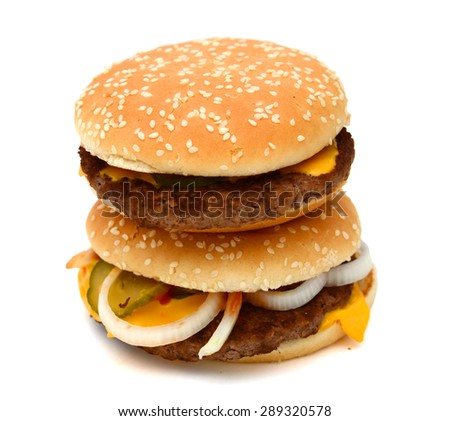 delicious hamburgers on white background  - stock photo