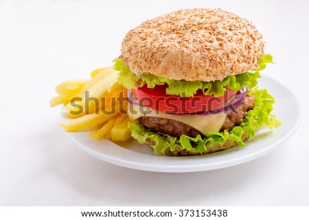 Delicious Healthy Hamburger on Whole Wheat Bun and French Fries - stock photo
