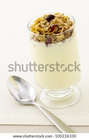 delicious healthy parfait made with creamy yogurt and crunchy granola or muesli - stock photo
