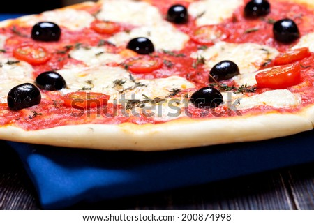 delicious home cooked pizza, shallow dof, macro - stock photo