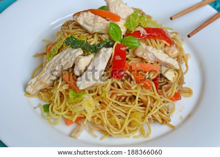 delicious home made chow mein stir fry - stock photo