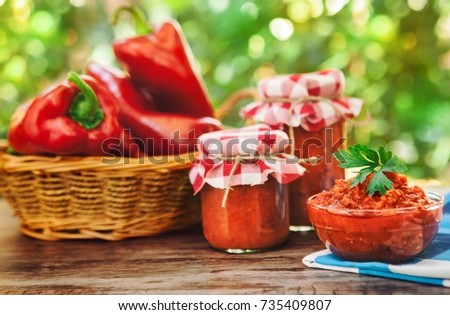 Delicious homemade Ajvar in glass jars