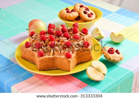 Delicious homemade cake with apples and cinnamon star-shaped. - stock photo