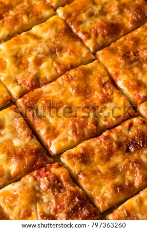 Delicious Homemade Cheese PIzza Cut into Square Slices
