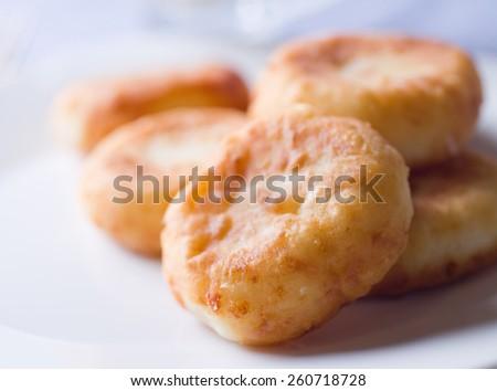 Delicious homemade cheesecakes. Selective focus - stock photo