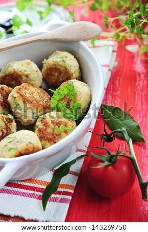 delicious homemade chicken balls - stock photo