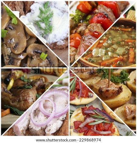Delicious homemade food collage - stock photo