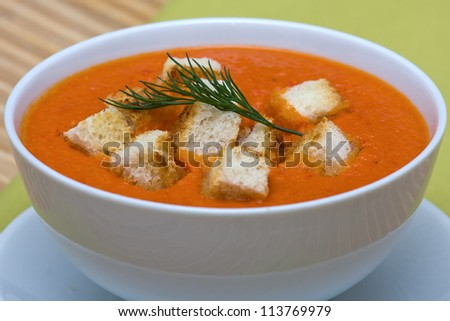 Delicious homemade gazpacho in white bowl