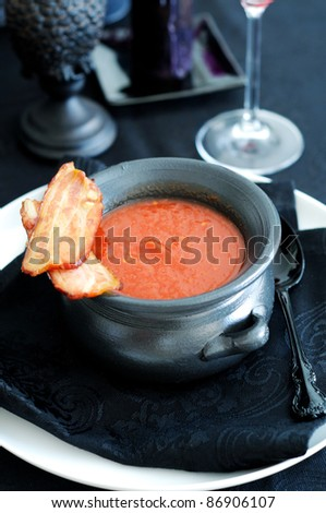 delicious homemade tomato soup with Roast Bacon in - stock photo