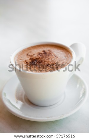 Delicious hot chocolate in a white mug - stock photo