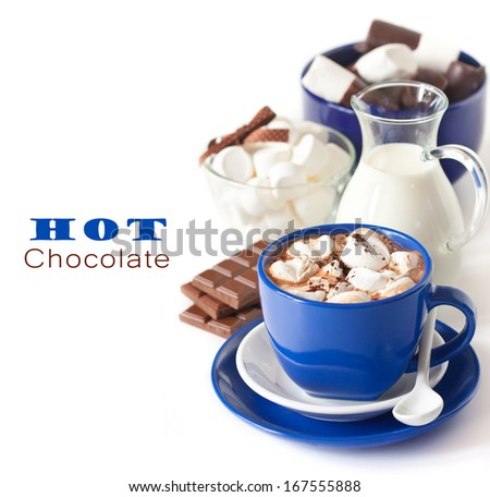 Delicious hot chocolate with marshmallow on white background. - stock photo