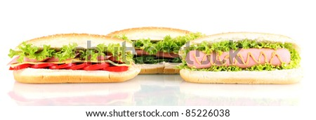Delicious hot dog and sandwiches isolated on white - stock photo