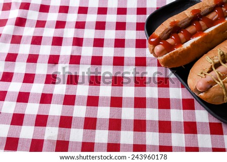 Delicious hot dog on the table - stock photo