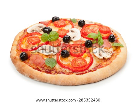 Delicious hot pizza isolated on white background.