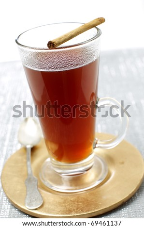 Delicious hot tea with cinnamon