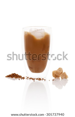 Delicious ice coffee on white background. Traditional coffee drinking. - stock photo