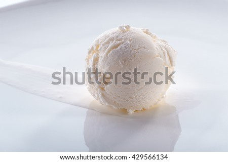delicious ice cream scoop on white plate close-up   - stock photo