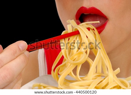 Delicious Image of a Woman With Pasta on Black