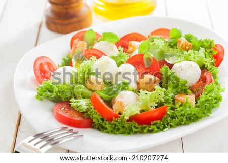 Delicious Italian mozzarella salad with crunchy fried bread croutons, sliced fresh tomato herbs and frilly lettuce served on a plate on white wooden boards - stock photo