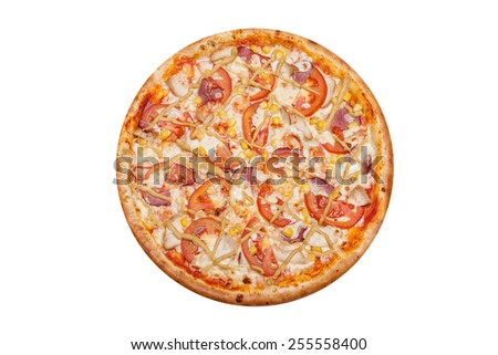 Delicious Italian pizza top view isolated on white background