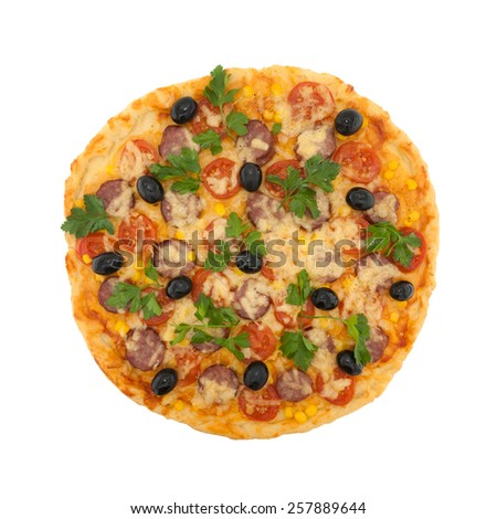 Delicious italian pizza with cherry tomatoes isolated on white background. Top view - stock photo
