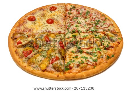 Delicious italian pizza with meat, vegetables & cheese 4 seasons isolated on white background - stock photo