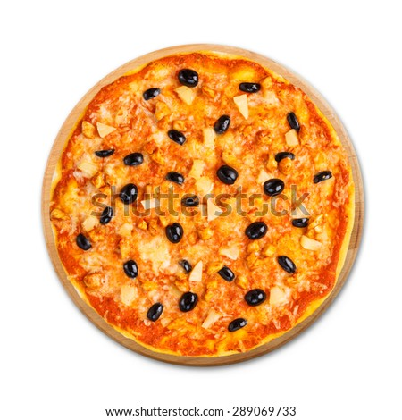 Delicious italian pizza with pineapple, chicken and black olives - thin pastry crust isolated at white background, above view