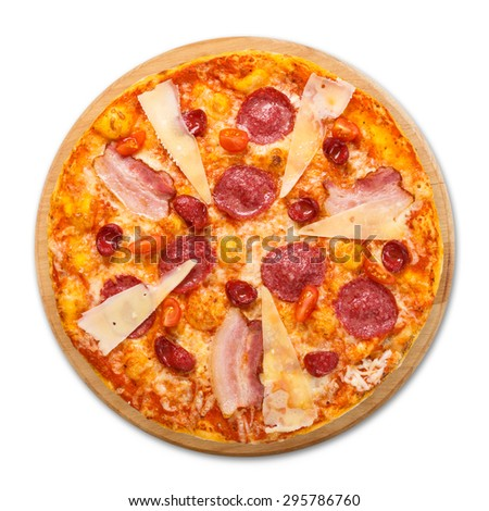 Delicious italian pizza with salami, sausages, bacon, parmesan and cherry tomatoes - thin pastry crust at white background, above view, isolated on wooden desk - stock photo