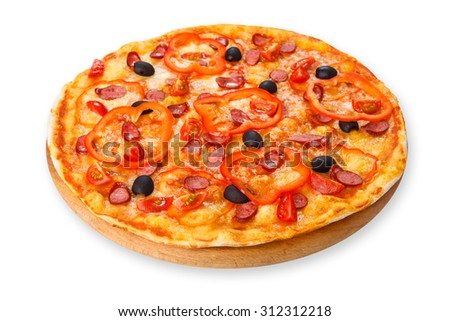 Delicious italian pizza with sausages, peppers, cherry tomatoes and black olives - thin pastry crust at wooden round desk isolated at white background - stock photo