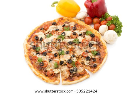 Delicious italian pizzas lifted slice 1 Isolated on white background