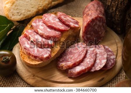 Delicious italian salami  - stock photo