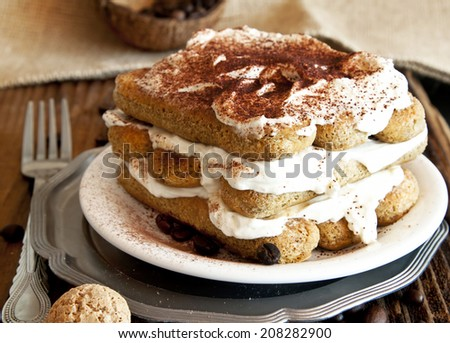Delicious Italian Tiramisu with Mascarpone Cream and Cappuccino - stock photo