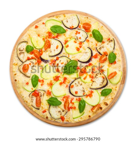 Delicious italian vegetarian pizza with cherry tomatoes, peppers, aubergines and zucchini - thin pastry crust at white table background, above view on wooden desk - stock photo