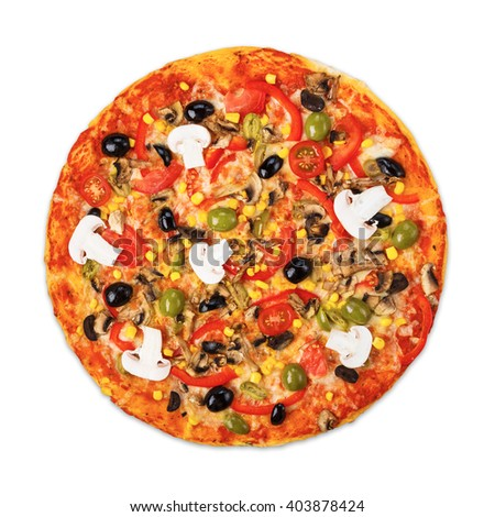 Delicious italian vegetarian pizza with tomatoes, mushrooms, peppers, corn and black olives - thin pastry crust at wooden desk isolated at white, top view - stock photo