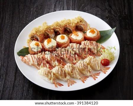 Delicious Japanese food, sushi and sashimi closeup - stock photo