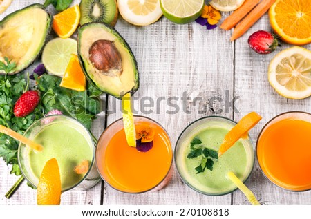 delicious juice and smoothie with fresh fruit and vegetable - stock photo