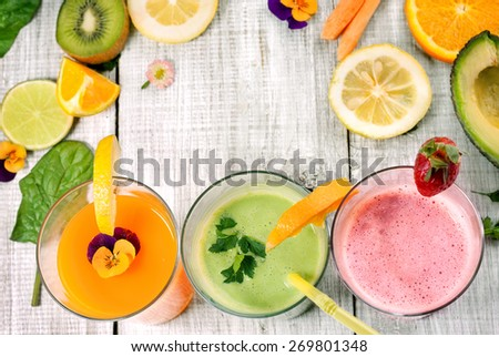 delicious juice and smoothie with fresh fruit and vegetables - stock photo