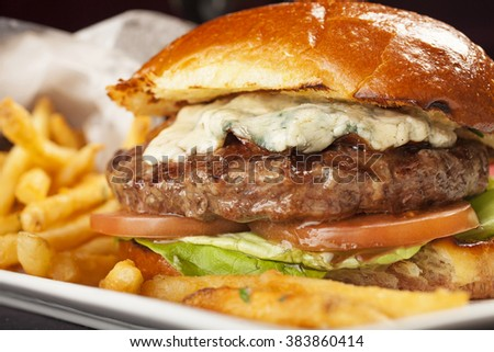Delicious juicy Angus beef hamburger with bleu cheese, tomato and lettuce with a side of crispy french fries