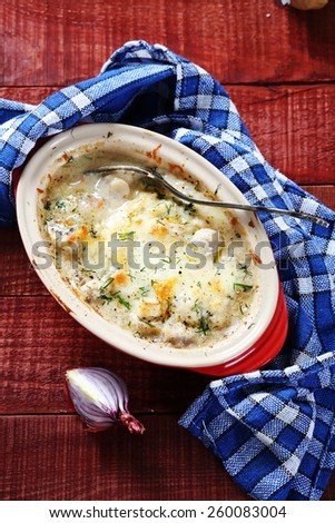 Delicious julienne with mushrooms, food - stock photo