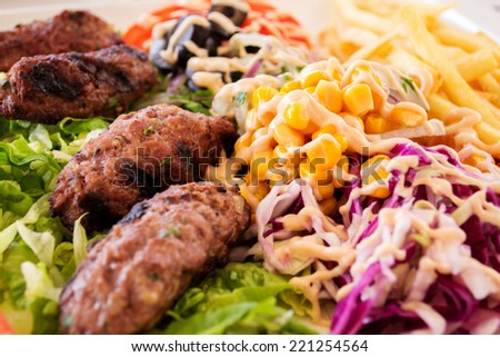 Delicious kebab with a side dish of vegetables and potatoes fries. - stock photo