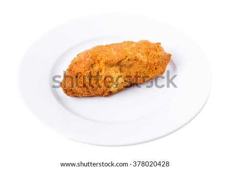 Delicious kiev chicken cutlet in ukrainian style. Isolated on a white background. - stock photo