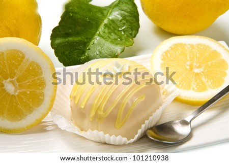 delicious lemon cake on white dish - stock photo