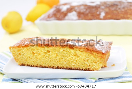 Delicious lemon piece of pie - stock photo