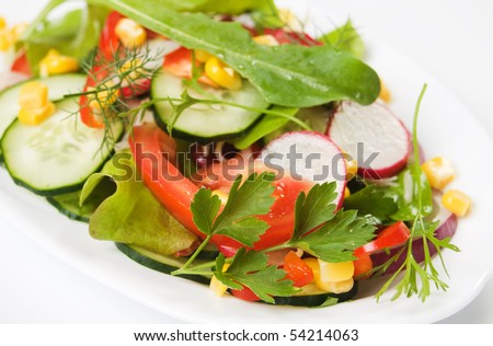 Delicious lettuce, radish, cucumber and tomato salad